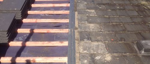 Bonding Gutter Slate to Tile in Chester - During